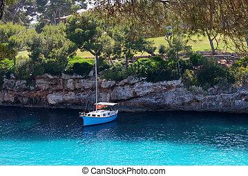 schöne , segel, yacht, meer, lagune