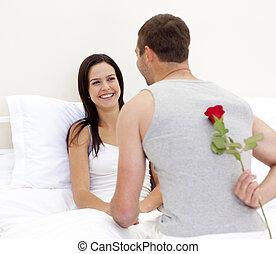 schöne , seine, ehefrau, geben, rose, mann
