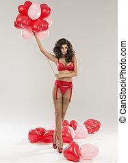 schöne , sexy, brünett, frau, posierend, in, rotes , lingerie., valentines, day.