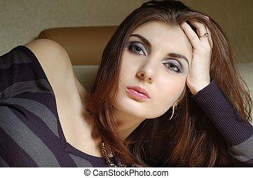 schöne , sexy, frau, junger, porträt
