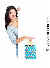schöne , shoppen, weihnachten, frau, mit, bag.