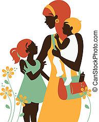schöne , silhouette, mother's, sie, day., mutter, children., karte, glücklich