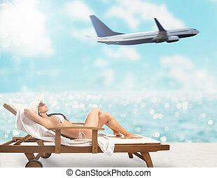 schöne , sitzen, deck, sonnenuntergang, hintergrund, m�dchen, strandliege, motorflugzeug