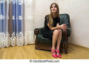 schöne , sitzen, sessel, junger, langes haar, m�dchen