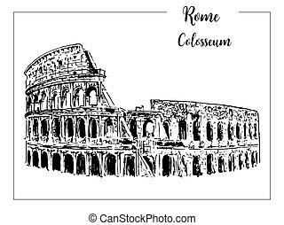 schöne , skizze, coliseum., illustration., italy., freigestellt, symbol., vektor, architektonisch, gezeichnet, weißes, hand, rom