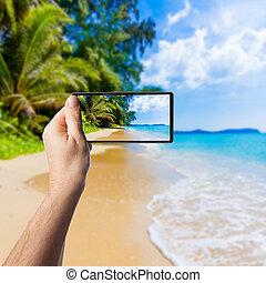 schöne , smartphone, foto, nehmen, tropische , meer, sandstrand