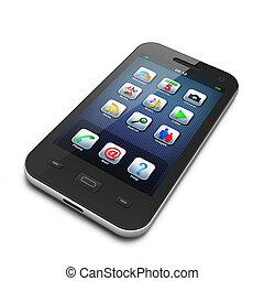 schöne , smartphone, schwarz, highly-datailed