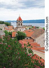 schöne , sommer, ansicht, auf, der, alte stadt, omis, in, croatia.