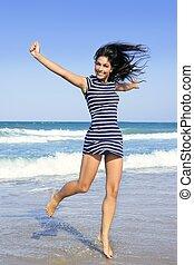 schöne , sommer, brünett, springende , m�dchen, sandstrand