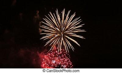 schöne , sommer, evening., feuerwerk, park