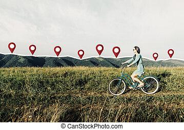 schöne , sommer, frau, fahrrad, wiese, track., verbunden,...