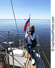 schöne , sommer, frau, segeln, segel, yacht, junger, vacations., luxus, blond, sea.