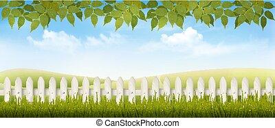 schöne , sommer, landschaft, hintergrund., vector., landschaftsbild
