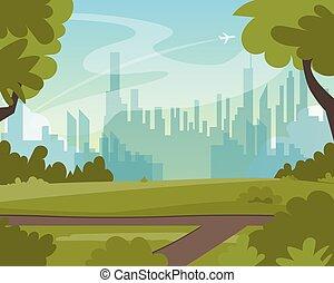 schöne , sommer, stadt- park, grüne landschaft, ansicht