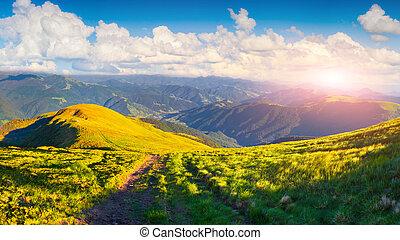 schöne , sommer, straße, landschaftsbild, berge