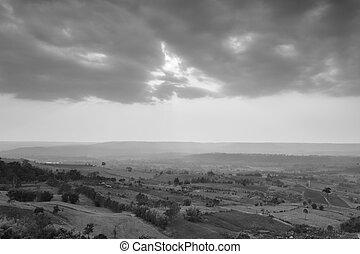schöne , sonnenaufgang, aus, landschaft, landschaftsbild, in, schwarz weiß