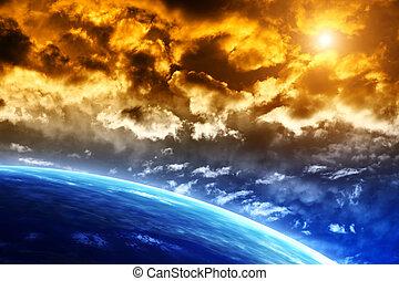 schöne , sonnenuntergang, mit, stürmen himmel, und, planeten