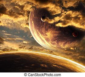 schöne , sonnenuntergang, wolke, und, planet