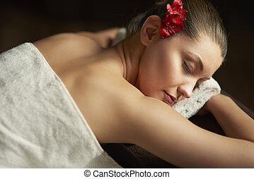 schöne , spa, frau entspannung