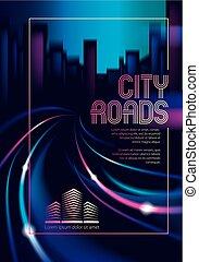 schöne , spuren, cityscape, führer, template., stadt, flieger, hintergrund., verwischen, skyline., gebäude, road., bunte, plakat, effekt, dunkel, decke, verkehr, broschüre, hintergrund, silhouetten, vektor, nacht, glänzend, oder