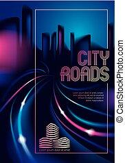 schöne , spuren, straße, cityscape, führer, template., stadt, flieger, hintergrund., groß, skyline., gebäude, bunte, plakat, verwischen, effekt, dunkel, decke, broschüre, hintergrund, licht, silhouetten, vektor, oder, night.