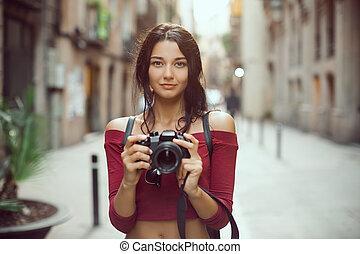 schöne , stadt, frau, tourist, fotoapperat, draußen, straße, digital