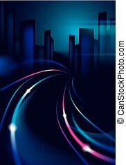 schöne , stadt, gebäude, bunte, lichter, straße, lights., effekt, verwischt, dunkel, hintergrund., silhouetten, vektor, verkehr, cityscape, hintergrund, verwischen, skyline., nacht