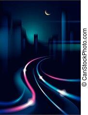 schöne , stadt, gebäude, road., bunte, nacht, linien, effekt, dunkel, hintergrund., silhouetten, vektor, verkehr, cityscape, hintergrund, verwischen, skyline., glänzend