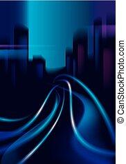 schöne , stadt, gebäude, road., bunte, spuren, nacht, effekt, dunkel, hintergrund., silhouetten, vektor, verkehr, cityscape, hintergrund, verwischen, skyline., glänzend