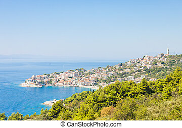 schöne , stadt, igrane, kostal, igrane, -, skyline, kroatien, dalmatien