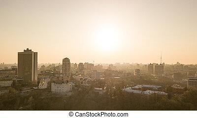schöne , stadt, luftaufnahmen, zentrieren, ukraine, vogel, kyiv, skyline, auge, sonnenuntergang, ansicht