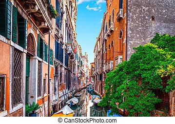 schöne , stadt, venedig italien, day., skyline