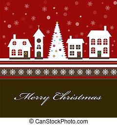schöne , stadt, wenig, schneebedeckt, winter, weihnachtskarte