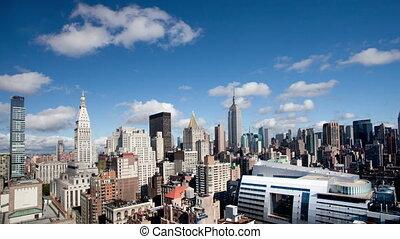 schöne , standpunkt, klar, timelapse, skyline, manhattan, hoch, stadtmitte, staat, reich, tag