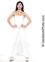 schöne , stehende , frauenporträts, workout, junger, freigestellt, studio, hintergrund, weißes, sportkleidung