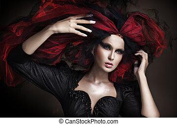 schöne , stil, einholen, dunkel, erstaunlich, porträt, m�dchen