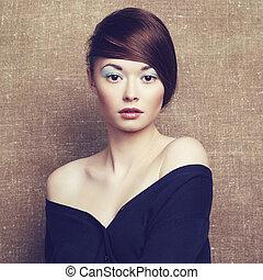 schöne , stil, foto, junger, weinlese, woman.