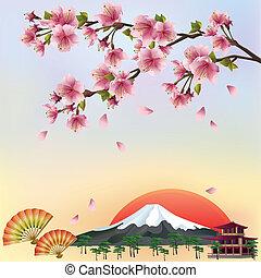schöne , stil, hintergrund, blüte, kirschen, -, japanisches , abbildung, vektor, sakura, vector., baum., landschaftsbild