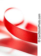 schöne , stoff, roter hintergrund, weißes band
