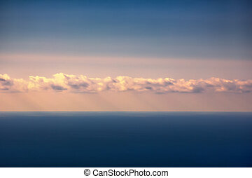 schöne , strahlen, wolkenhimmel, sonne, himmelsgewölbe, durch