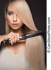 schöne , styler, eisschießen, klassisch, glatt, haar, blond...