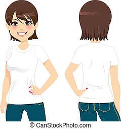 schöne , t-shirt, frau