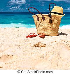 schöne , tasche, seychellen, sandstrand