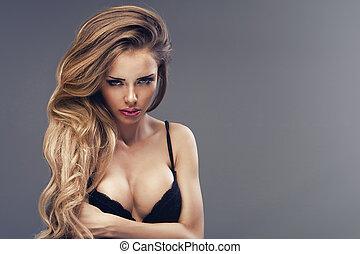 schöne , tragen, frau, away., schauen, schwarz, sexy damenunterwäsche, blond, stehende , sinnlich