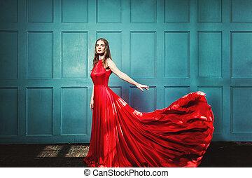 schöne , tragen, frau, dress., kleid, glamourus, blaues, abend, hintergrund, stilvoll, modell, mode, rotes