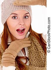 schöne , tragen, frau, winter, warm, kleidung