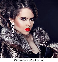schöne , tragen, lady., pelz, schmuck, elegant, mantel, aus,...