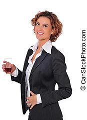 schöne , unternehmerin, haben, a, cocktail