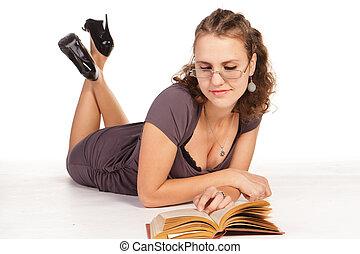 schöne , unternehmerin, lesen buches