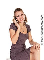 schöne , unternehmerin, reden mobiltelefon
